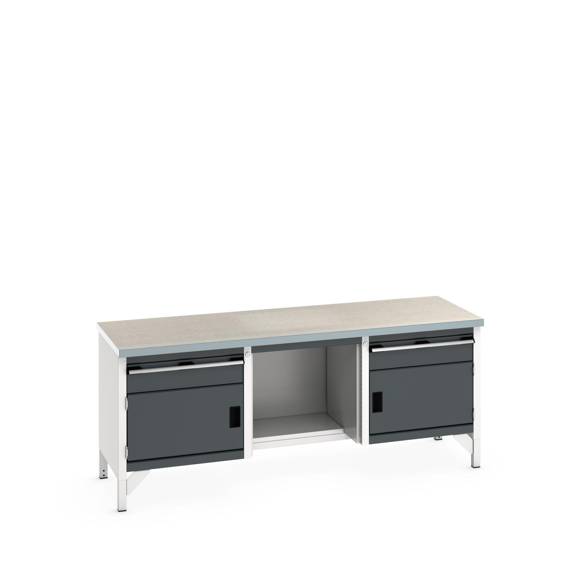 Bott Cubio Storage Bench With 1 Drawer-Door Cabinet / Open With Half Depth Base Shelf / 1 Drawer-Door Cabinet