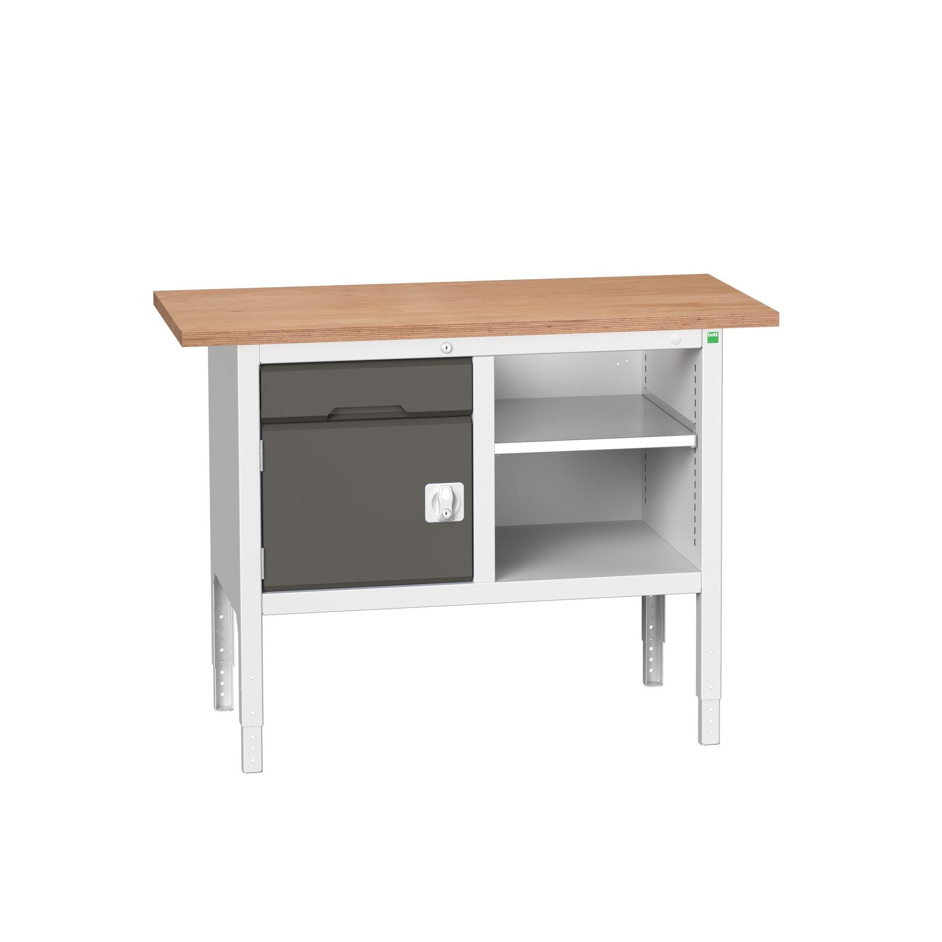 Bott Verso Adjustable Height Storage Bench With 1 Drawer-Door Cabinet / Open Cupboard