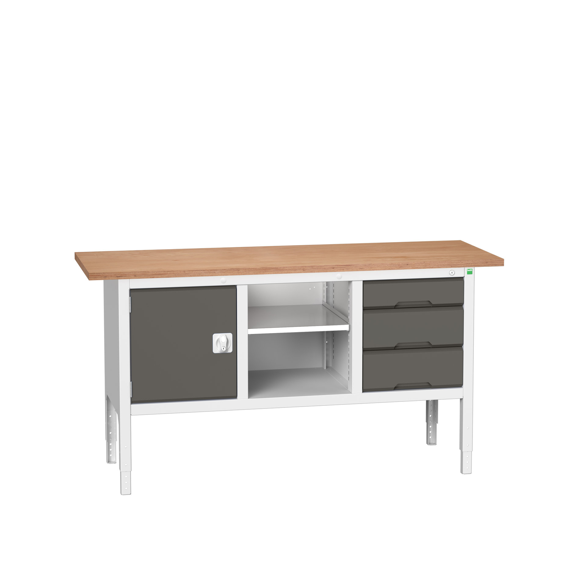 Bott Verso Adjustable Height Storage Bench With Full Cupboard / Open Cupboard / 3 Drawer Cabinet