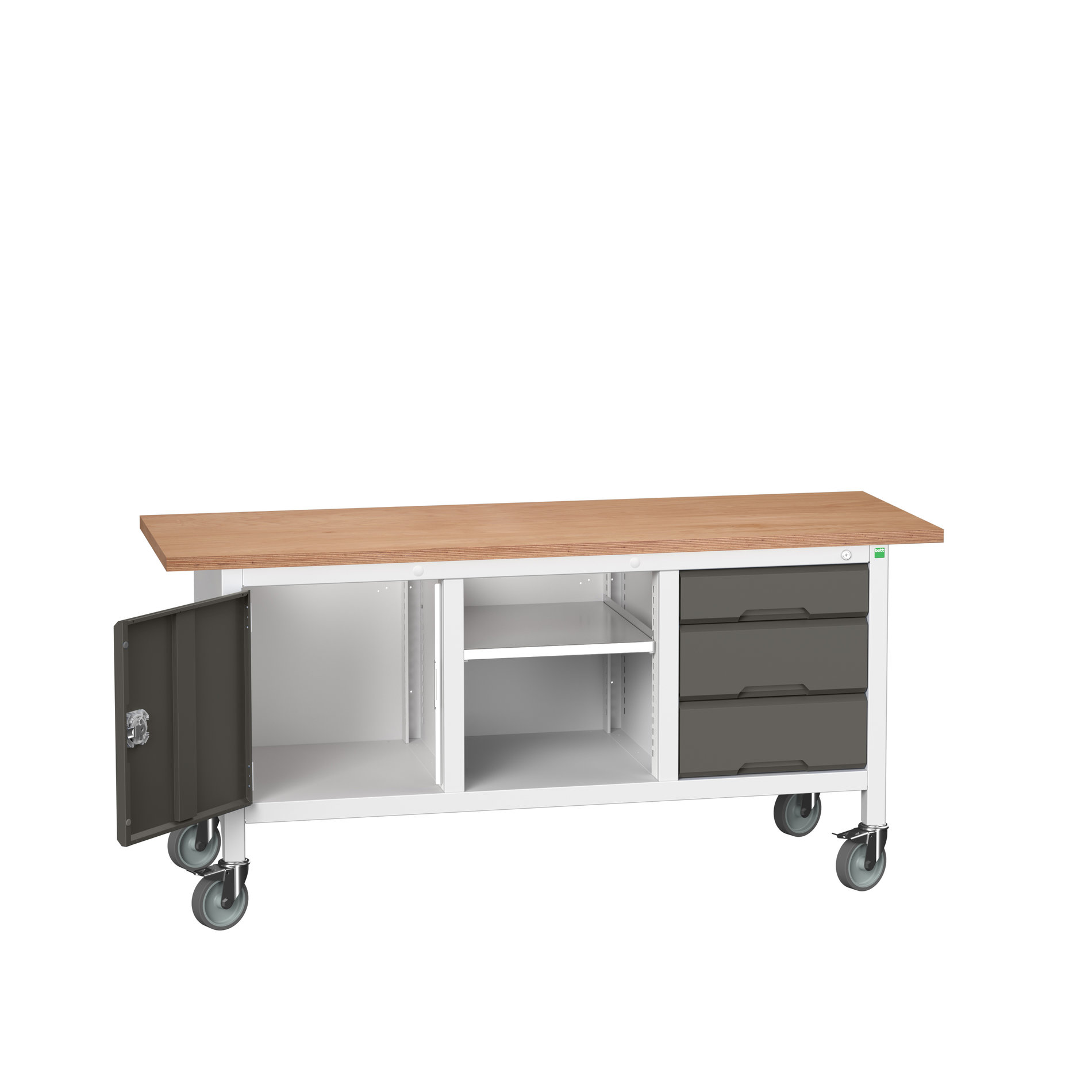 Bott Verso Mobile Storage Bench With Full Cupboard / Open Cupboard / 3 Drawer Cab
